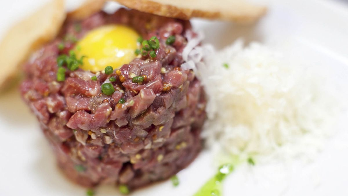 Our steak tartar (cut by knife)