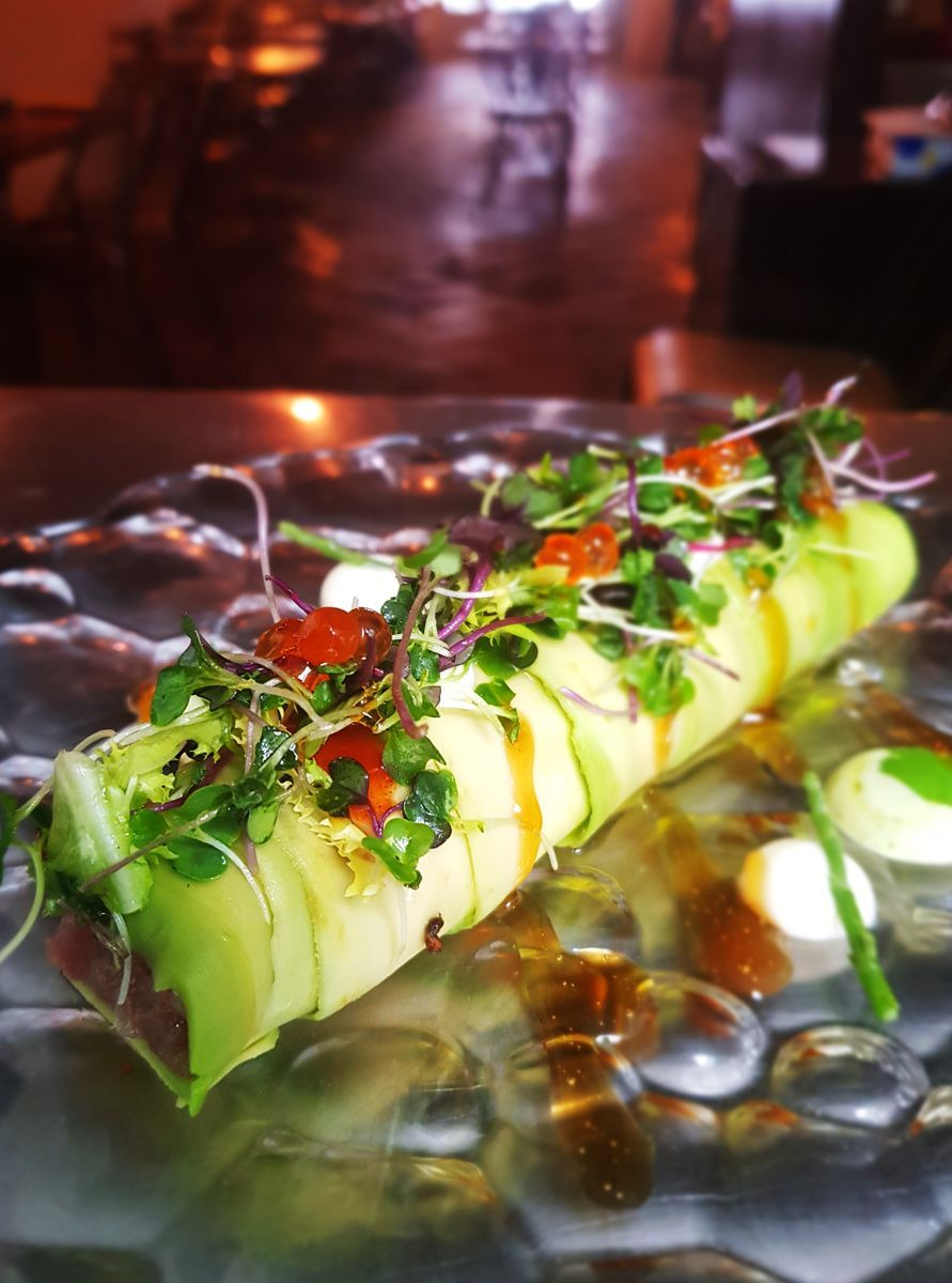 Avocado cannelloni with tuna tartar